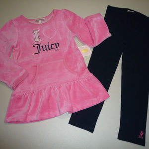 Juicy Couture Matching Sets - Juicy Couture Girls Pink & Blue 2PC Tunic Set